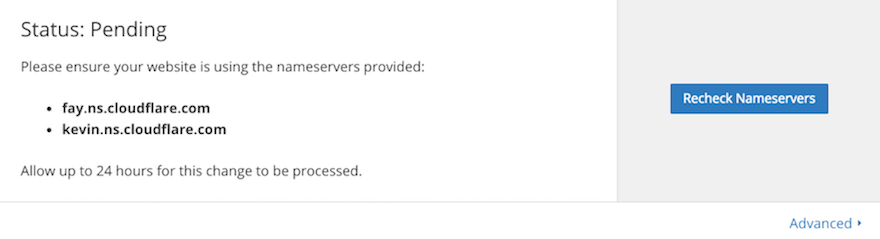 Cloudflare nameservers settings page example